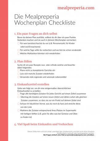 Wochenplan Checkliste mealpreperia.com Vorschau
